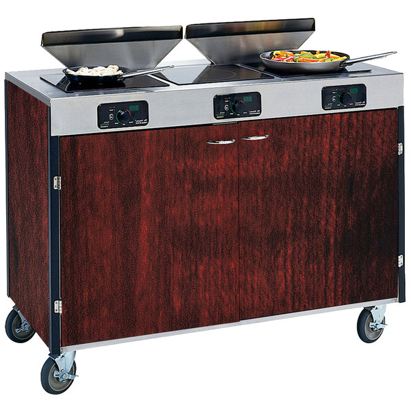 "Lakeside 2085 Creation Express Mobile Cooking Cart with 3 Induction Burners, 2 Filtration Units, and Red Maple Laminate Finish - 22"" x 48"" x 40 1/2"""
