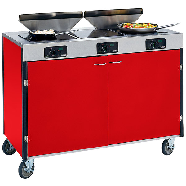"""Lakeside 2085 Creation Express Mobile Cooking Cart with 3 Induction Burners, 2 Filtration Units, and Red Laminate Finish - 22"""" x 48"""" x 40 1/2"""""""