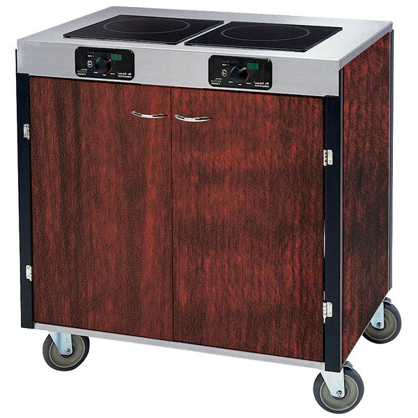 """Lakeside 2075 Creation Express Mobile Cooking Cart with 2 Induction Burners, 1 Filtration Unit, and Red Maple Laminate Finish - 22"""" x 34"""" x 40 1/2"""""""