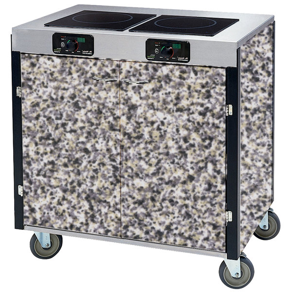 "Lakeside 2075 Creation Express Mobile Cooking Cart with 2 Induction Burners, 1 Filtration Unit, and Gray Sand Laminate Finish - 22"" x 34"" x 40 1/2"""