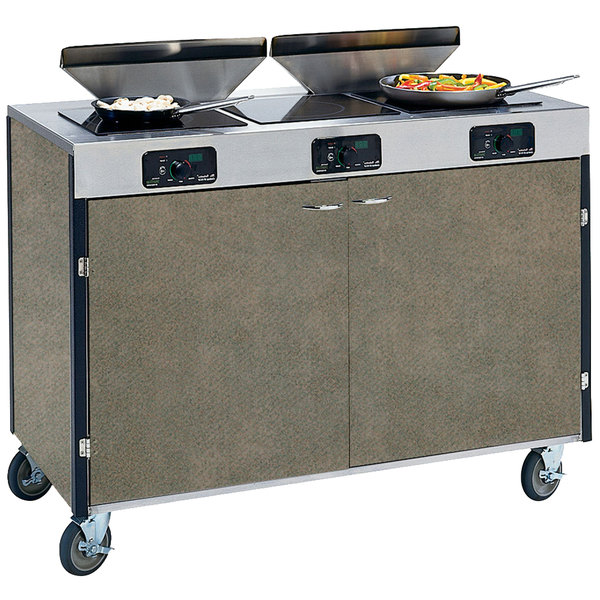 """Lakeside 2085 Creation Express Mobile Cooking Cart with 3 Induction Burners, 2 Filtration Units, and Beige Suede Laminate Finish - 22"""" x 48"""" x 40 1/2"""""""
