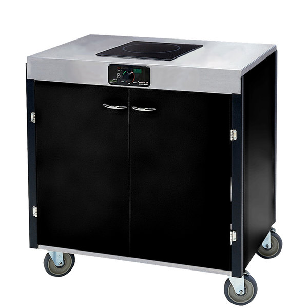 """Lakeside 2060 Creation Express Mobile Cooking Cart with 1 Induction Burner, No Exhaust Filtration, and Black Laminate Finish - 22"""" x 34"""" x 35 1/2"""""""