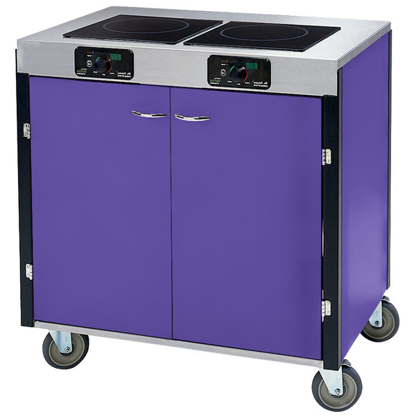 "Lakeside 2075 Creation Express Mobile Cooking Cart with 2 Induction Burners, 1 Filtration Unit, and Purple Laminate Finish - 22"" x 34"" x 40 1/2"""