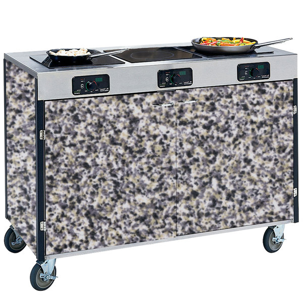 "Lakeside 2080 Creation Express Mobile Cooking Cart with 3 Induction Burners, No Exhaust Filtration, and Gray Sand Laminate Finish - 22"" x 48"" x 35 1/2"""