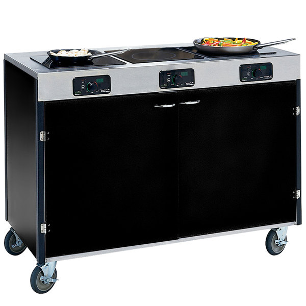 """Lakeside 2080 Creation Express Mobile Cooking Cart with 3 Induction Burners, No Exhaust Filtration, and Black Laminate Finish - 22"""" x 48"""" x 35 1/2"""""""