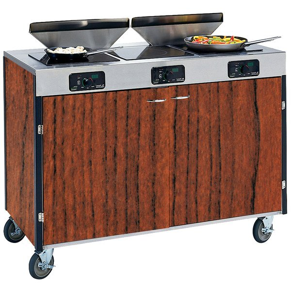 """Lakeside 2085 Creation Express Mobile Cooking Cart with 3 Induction Burners, 2 Filtration Units, and Victorian Cherry Laminate Finish - 22"""" x 48"""" x 40 1/2"""""""