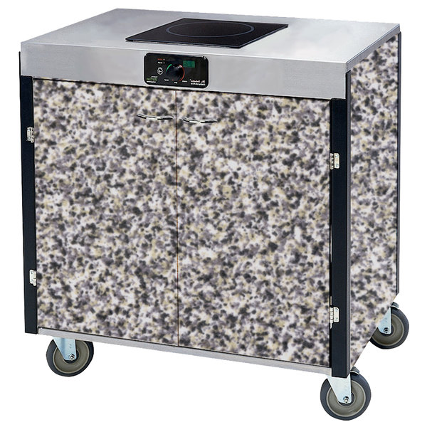"""Lakeside 2060 Creation Express Mobile Cooking Cart with 1 Induction Burner, No Exhaust Filtration, and Gray Sand Laminate Finish - 22"""" x 34"""" x 35 1/2"""""""
