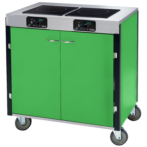 """Lakeside 2075 Creation Express Mobile Cooking Cart with 2 Induction Burners, 1 Filtration Unit, and Green Laminate Finish - 22"""" x 34"""" x 40 1/2"""""""