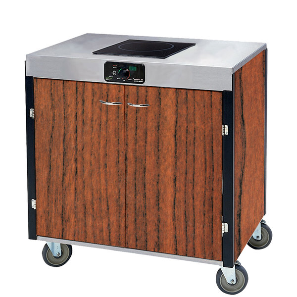 "Lakeside 2060 Creation Express Mobile Cooking Cart with 1 Induction Burner, No Exhaust Filtration, and Victorian Cherry Laminate Finish - 22"" x 34"" x 35 1/2"""
