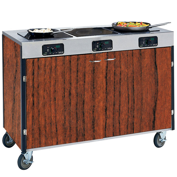"Lakeside 2080 Creation Express Mobile Cooking Cart with 3 Induction Burners, No Exhaust Filtration, and Victorian Cherry Laminate Finish - 22"" x 48"" x 35 1/2"""
