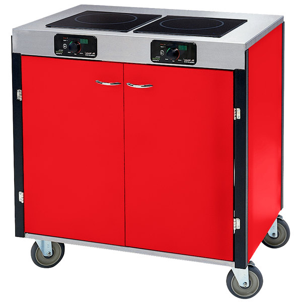 """Lakeside 2075 Creation Express Mobile Cooking Cart with 2 Induction Burners, 1 Filtration Unit, and Red Laminate Finish - 22"""" x 34"""" x 40 1/2"""""""