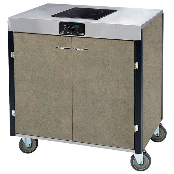 "Lakeside 2060 Creation Express Mobile Cooking Cart with 1 Induction Burner, No Exhaust Filtration, and Beige Suede Laminate Finish - 22"" x 34"" x 35 1/2"""