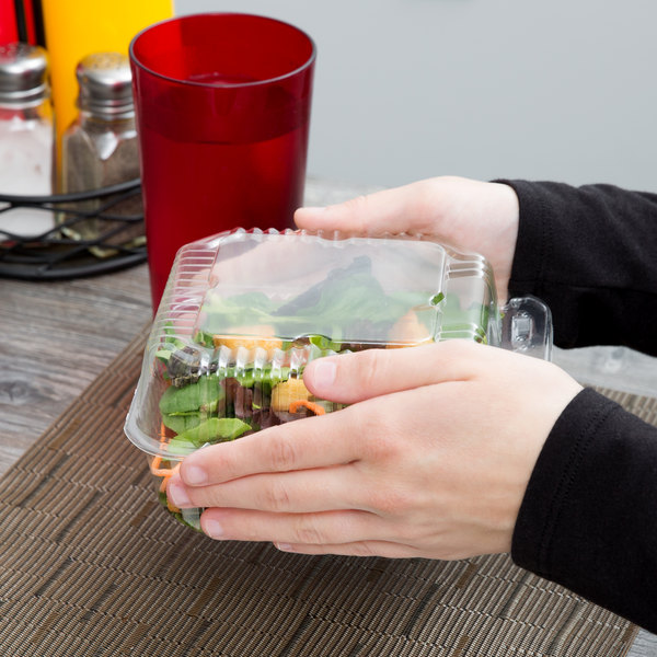 """Durable Packaging PXT-600 6"""" x 6"""" x 3"""" Clear Hinged Lid Plastic Container - 125/Pack"""