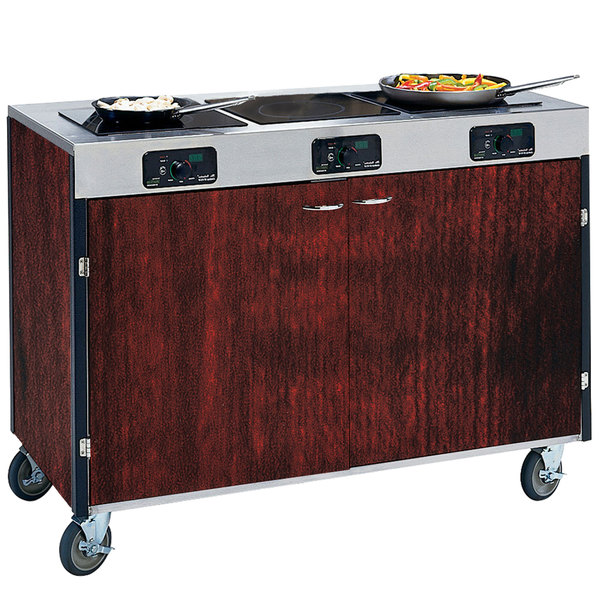 "Lakeside 2080 Creation Express Mobile Cooking Cart with 3 Induction Burners, No Exhaust Filtration, and Red Maple Laminate Finish - 22"" x 48"" x 35 1/2"""