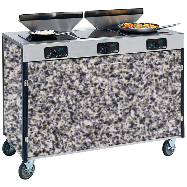 "Lakeside 2085 Creation Express Mobile Cooking Cart with 3 Induction Burners, 2 Filtration Units, and Gray Sand Laminate Finish - 22"" x 48"" x 40 1/2"""