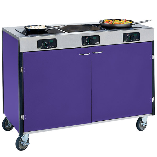 "Lakeside 2080 Creation Express Mobile Cooking Cart with 3 Induction Burners, No Exhaust Filtration, and Purple Laminate Finish - 22"" x 48"" x 35 1/2"""