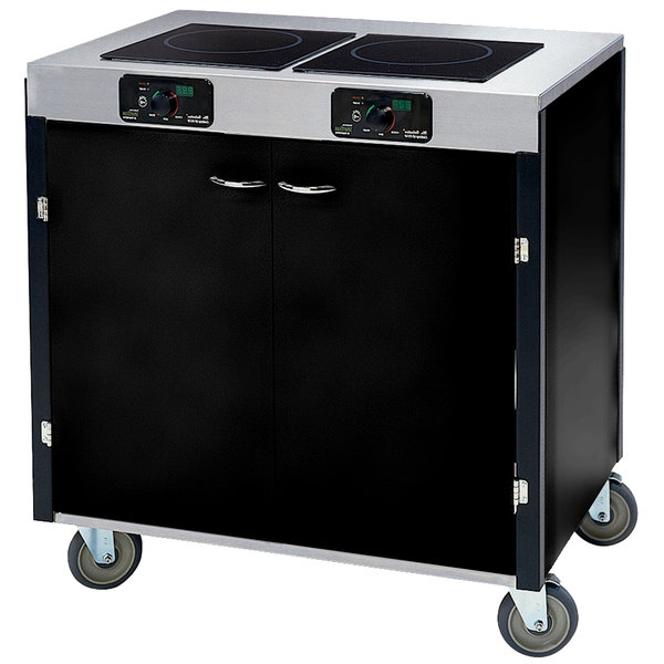 """Lakeside 2070B Creation Express Mobile Cooking Cart with 2 Induction Burners, No Exhaust Filtration, and Black Laminate Finish - 22"""" x 34"""" x 35 1/2"""""""