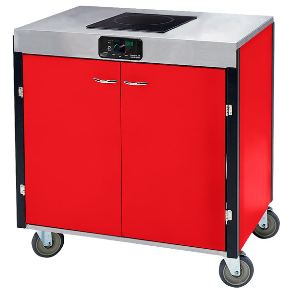 """Lakeside 2060 Creation Express Mobile Cooking Cart with 1 Induction Burner, No Exhaust Filtration, and Red Laminate Finish - 22"""" x 34"""" x 35 1/2"""""""