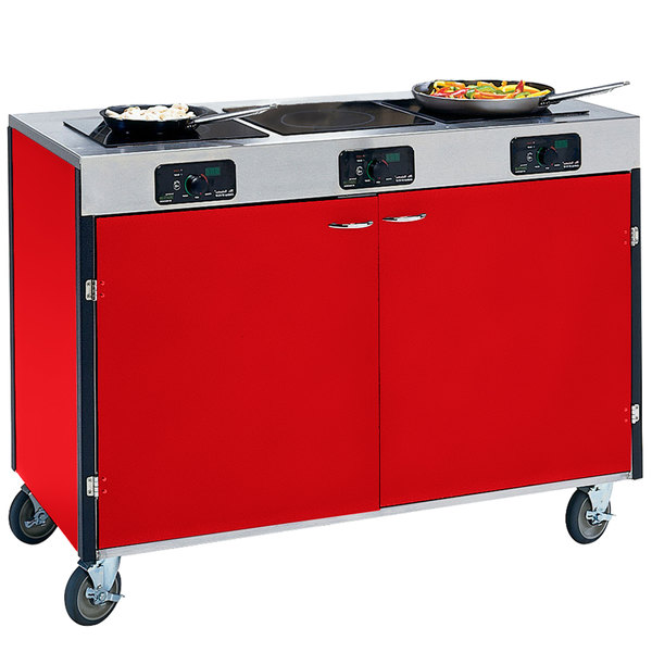 "Lakeside 2080 Creation Express Mobile Cooking Cart with 3 Induction Burners, No Exhaust Filtration, and Red Laminate Finish - 22"" x 48"" x 35 1/2"""