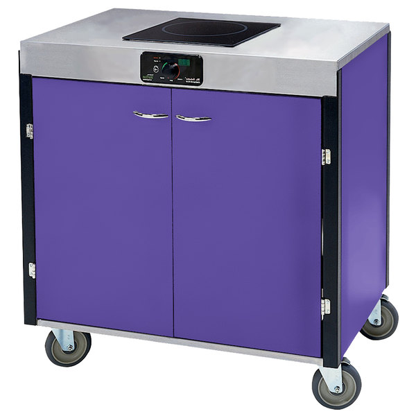 """Lakeside 2060 Creation Express Mobile Cooking Cart with 1 Induction Burner, No Exhaust Filtration, and Purple Laminate Finish - 22"""" x 34"""" x 35 1/2"""""""