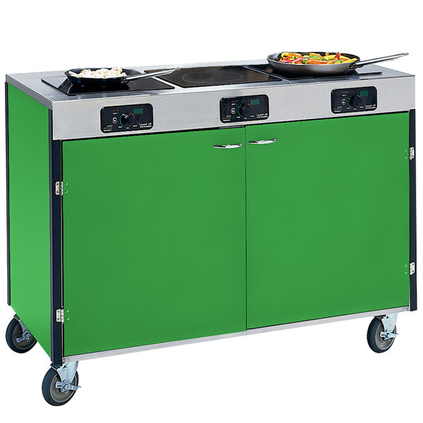 "Lakeside 2080 Creation Express Mobile Cooking Cart with 3 Induction Burners, No Exhaust Filtration, and Green Laminate Finish - 22"" x 48"" x 35 1/2"""
