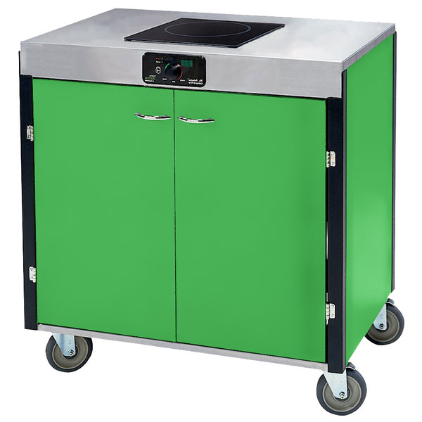 "Lakeside 2060 Creation Express Mobile Cooking Cart with 1 Induction Burner, No Exhaust Filtration, and Green Laminate Finish - 22"" x 34"" x 35 1/2"""