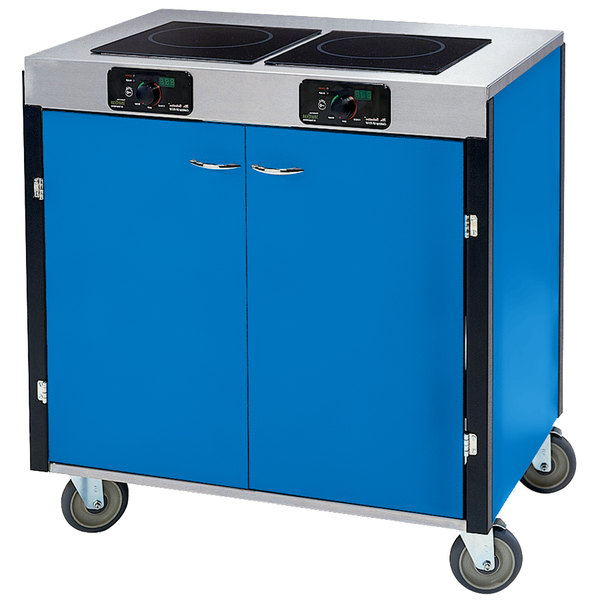 "Lakeside 2075 Creation Express Mobile Cooking Cart with 2 Induction Burners, 1 Filtration Unit, and Royal Blue Laminate Finish - 22"" x 34"" x 40 1/2"""