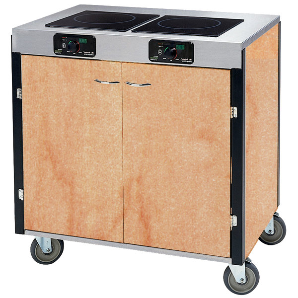 "Lakeside 2075 Creation Express Mobile Cooking Cart with 2 Induction Burners, 1 Filtration Unit, and Hard Rock Maple Laminate Finish - 22"" x 34"" x 40 1/2"""
