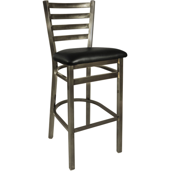 """BFM Seating 2160BBLV-CL Lima Steel Bar Height Chair with 2"""" Black Vinyl Seat and Clear Coat Frame Main Image 1"""