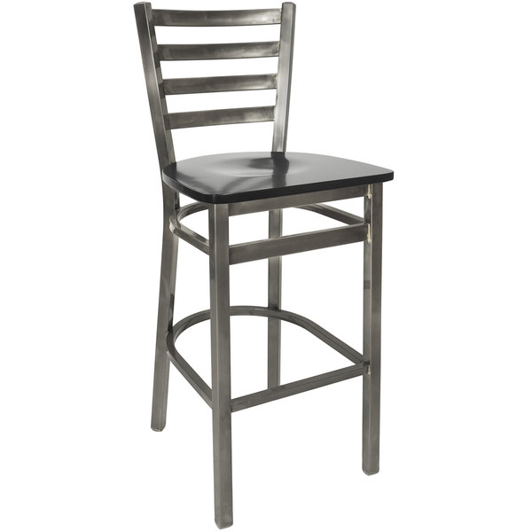 BFM Seating 2160BBLW-CL Lima Steel Bar Height Chair with Black Wooden Seat and Clear Coat Frame Main Image 1