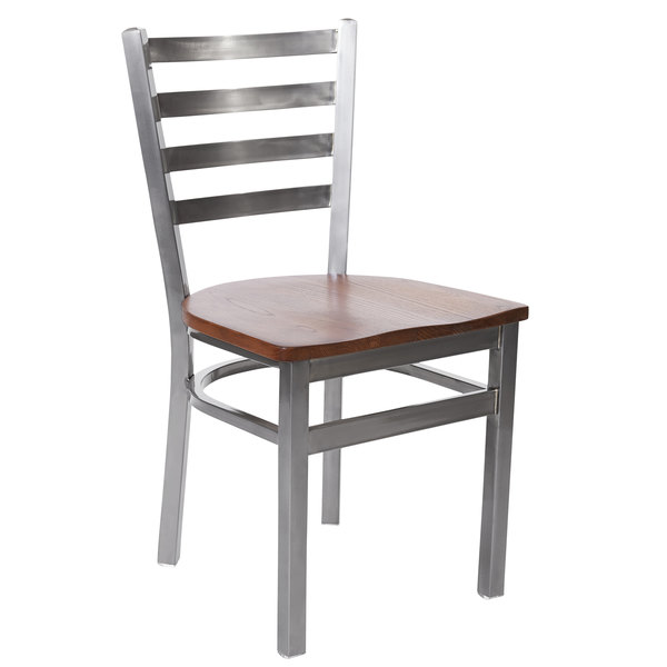 BFM Seating 2160CASH-CL Lima Steel Side Chair with Ash Wooden Seat and Clear Coat Frame Main Image 1