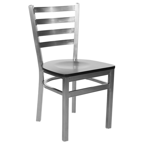 BFM Seating 2160CBLW-CL Lima Steel Side Chair with Black Wooden Seat and Clear Coat Frame Main Image 1