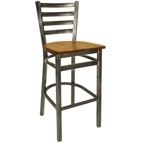 BFM Seating 2160BASH-CL Lima Steel Bar Height Chair with Ash Wooden Seat and Clear Coat Frame Main Image 1