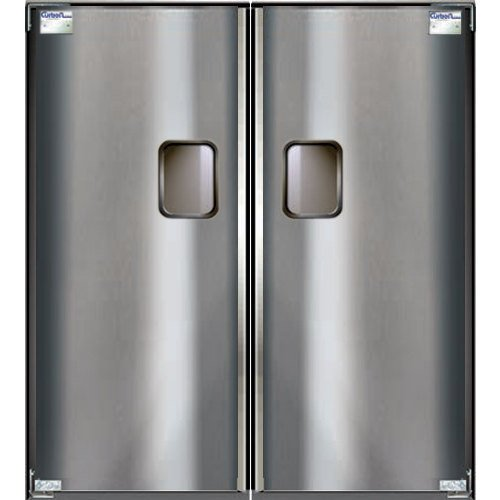 "Curtron Service-Pro Series 30 Double Stainless Steel Swinging Traffic Door - 48"" x 96"" Door Opening Main Image 1"