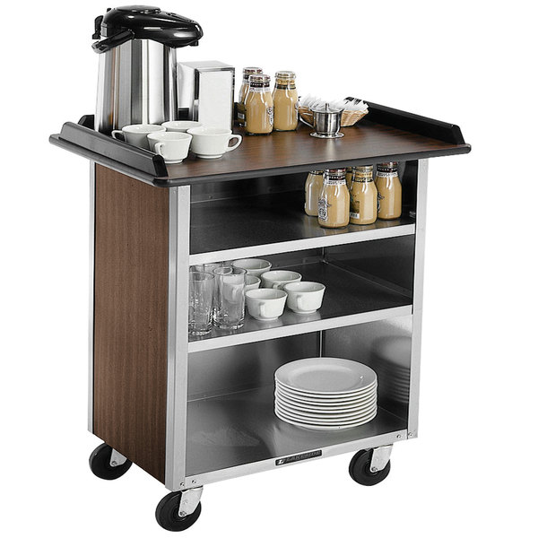 "Lakeside 678 Stainless Steel Beverage Service Cart with 3 Shelves and Walnut Laminate Finish - 40 3/4"" x 24"" x 38 1/4"""