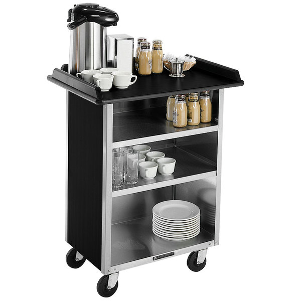 "Lakeside 681 Stainless Steel Beverage Service Cart with 3 Shelves and Black Laminate Finish - 58 3/8"" x 24"" x 38 1/4"""