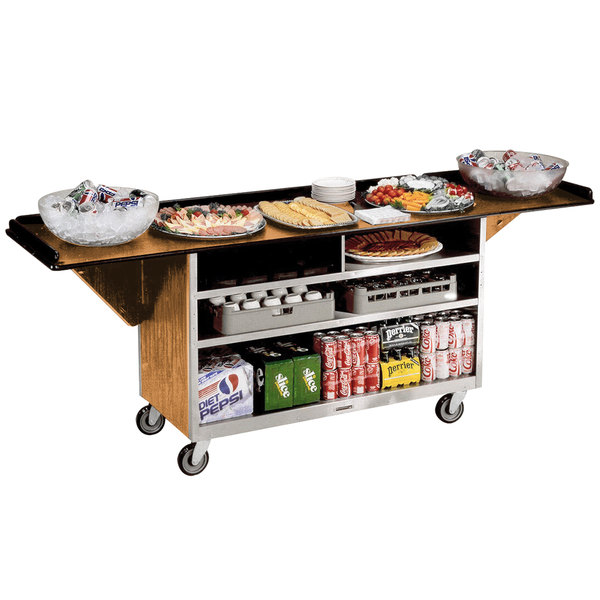 """Lakeside 676 Stainless Steel Drop-Leaf Beverage Service Cart with 3 Shelves and Light Maple Laminate Finish - 61 3/4"""" x 24"""" x 38 1/4"""""""