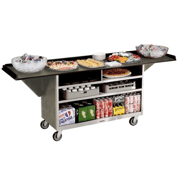 """Lakeside 676 Stainless Steel Drop-Leaf Beverage Service Cart with 3 Shelves and Beige Suede Laminate Finish - 61 3/4"""" x 24"""" x 38 1/4"""""""