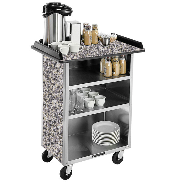 "Lakeside 636 Stainless Steel Beverage Service Cart with 3 Shelves and Gray Sand Laminate Finish - 30 1/4"" x 21"" x 38 1/4"""