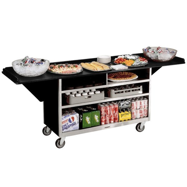 """Lakeside 676B Stainless Steel Drop-Leaf Beverage Service Cart with 3 Shelves and Black Laminate Finish - 61 3/4"""" x 24"""" x 38 1/4"""""""