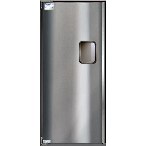 "Curtron Service-Pro Series 30 Single Stainless Steel Swinging Traffic Door - 36"" x 96"" Door Opening Main Image 1"