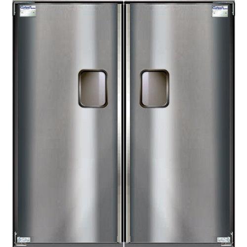 "Curtron Service-Pro Series 30 Double Stainless Steel Swinging Traffic Door - 42"" x 84"" Door Opening Main Image 1"