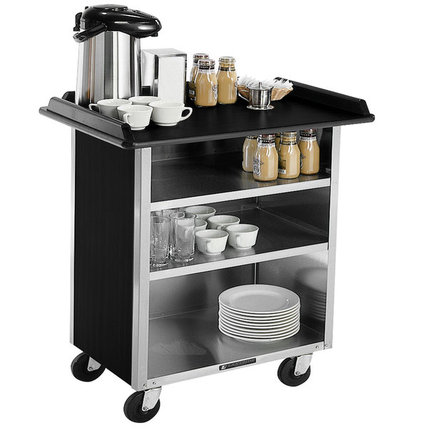 """Lakeside 678 Stainless Steel Beverage Service Cart with 3 Shelves and Black Laminate Finish - 40 3/4"""" x 24"""" x 38 1/4"""""""