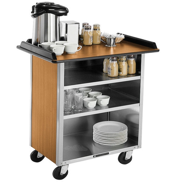 "Lakeside 678 Stainless Steel Beverage Service Cart with 3 Shelves and Light Maple Laminate Finish - 40 3/4"" x 24"" x 38 1/4"""