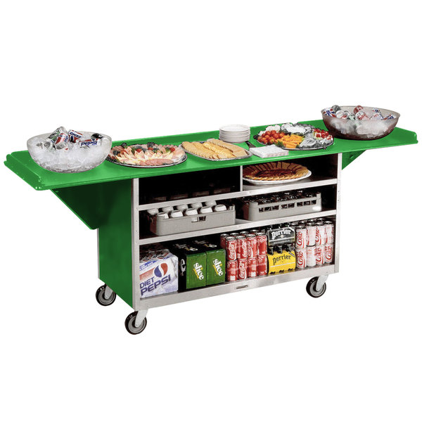 """Lakeside 676 Stainless Steel Drop-Leaf Beverage Service Cart with 3 Shelves and Green Laminate Finish - 61 3/4"""" x 24"""" x 38 1/4"""""""