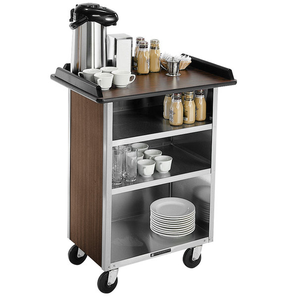 """Lakeside 681 Stainless Steel Beverage Service Cart with 3 Shelves and Walnut Laminate Finish - 58 3/8"""" x 24"""" x 38 1/4"""""""