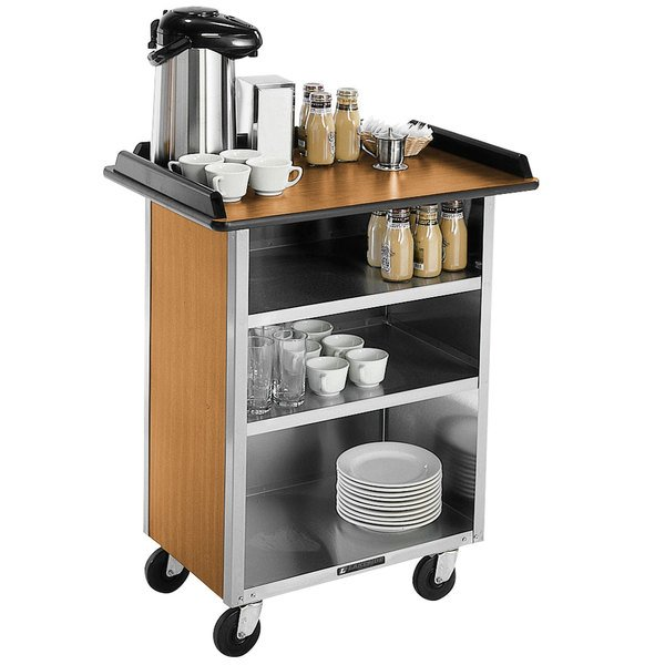 "Lakeside 681 Stainless Steel Beverage Service Cart with 3 Shelves and Light Maple Laminate Finish - 58 3/8"" x 24"" x 38 1/4"""
