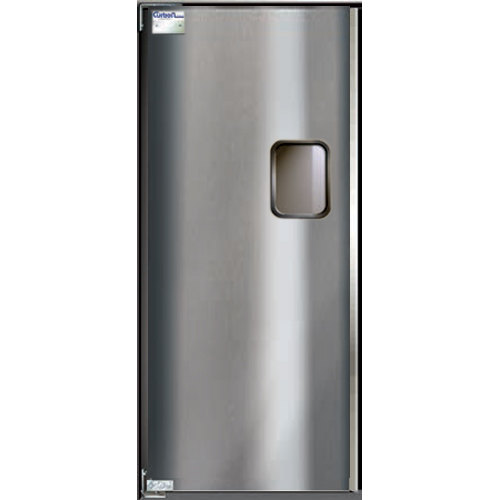 "Curtron Service-Pro Series 30 Single Stainless Steel Swinging Traffic Door - 48"" x 84"" Door Opening Main Image 1"