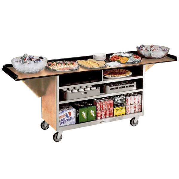 """Lakeside 676 Stainless Steel Drop-Leaf Beverage Service Cart with 3 Shelves and Hard Rock Maple Laminate Finish - 61 3/4"""" x 24"""" x 38 1/4"""""""