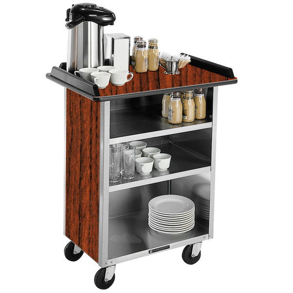 "Lakeside 681 Stainless Steel Beverage Service Cart with 3 Shelves and Victorian Cherry Laminate Finish - 58 3/8"" x 24"" x 38 1/4"""